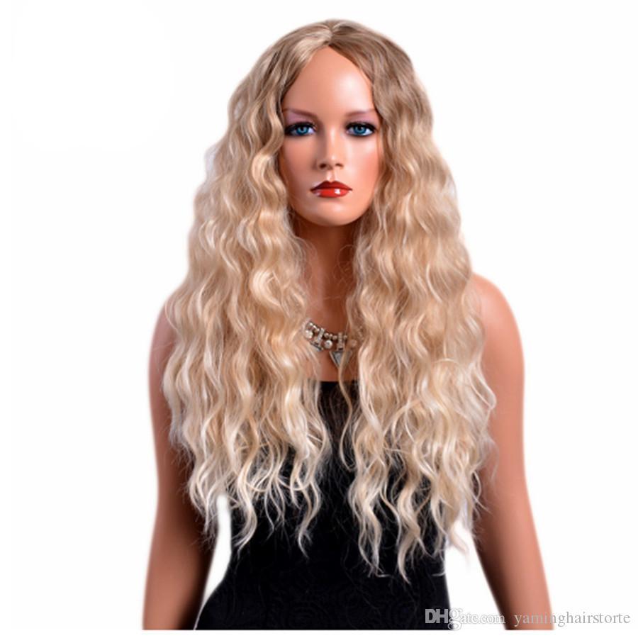 28 인치 여성을위한 긴 곱슬 가발 금발의 색 미국의 아프리카 합성 머리카락 옴브 가발의 가발