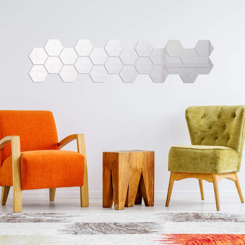 50 PCS Mirror Wall Sticker bricolage acrylique Stickers muraux Stickers Hexagon auto adhésif autocollant Wall Sticker Stickers pour la maison Salon Chambre