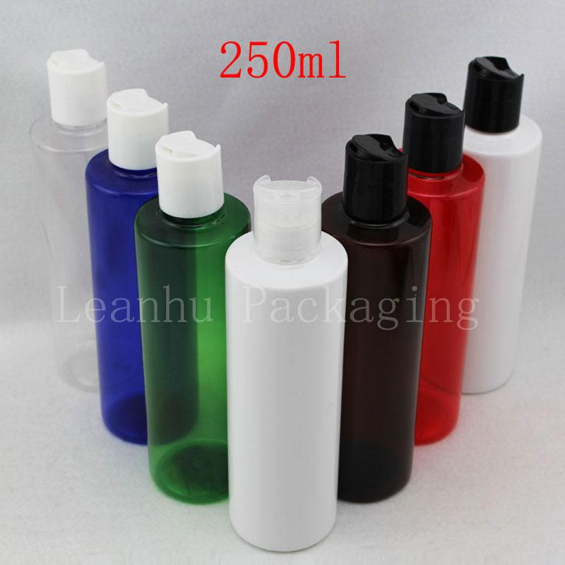 250ML X 25 Empty Colored Plastic Cosmetics Lotion Bottle With Disc Screw Lid 250cc Shampoo PET Containers , Cosmetic Packaging