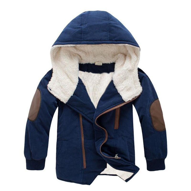 2018 Winter Jacket For Boys Jackets Cotton Thick Cashmere Long Sleeve Fashion Hooded Coats Kids Clothing Warm Outerwear Coats