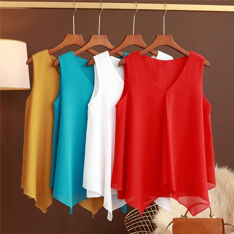 M-5XL Sommer-Frauen-Blusen ärmellosen Chiffon Damen Tops Plus Size Ropa Mujer Maxi-Hemd-Bluse Frauen Kleidung Massiv Q2727