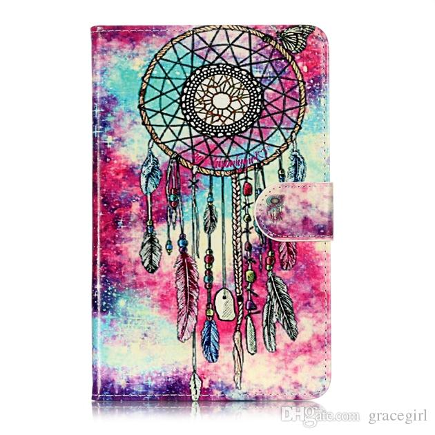 For Amazon Kindle Fire 7 HD 8 HD8 2017 HD 10 2017 HD10 Bling Marble Flower Leather Case Stand Pouch Mandala Dreamcatcher Cards Cover 70pcs
