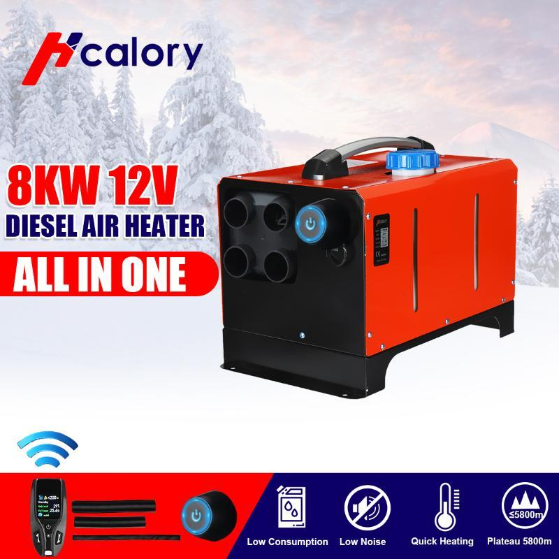 All in One 8KW 12V Car Heater Diesels Air Parking Heater 8000W 4 Hole+New Remote control Warmer For Car Truck RV Bus Boat