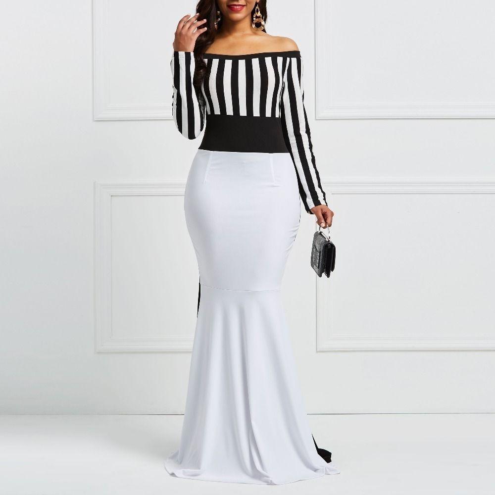 Clocolor Sheath Dress Elegant Women Off Sholuder Long Sleeve Stripes Color Block White Black Bodycon Maxi Mermaid Party Dress Y19050805