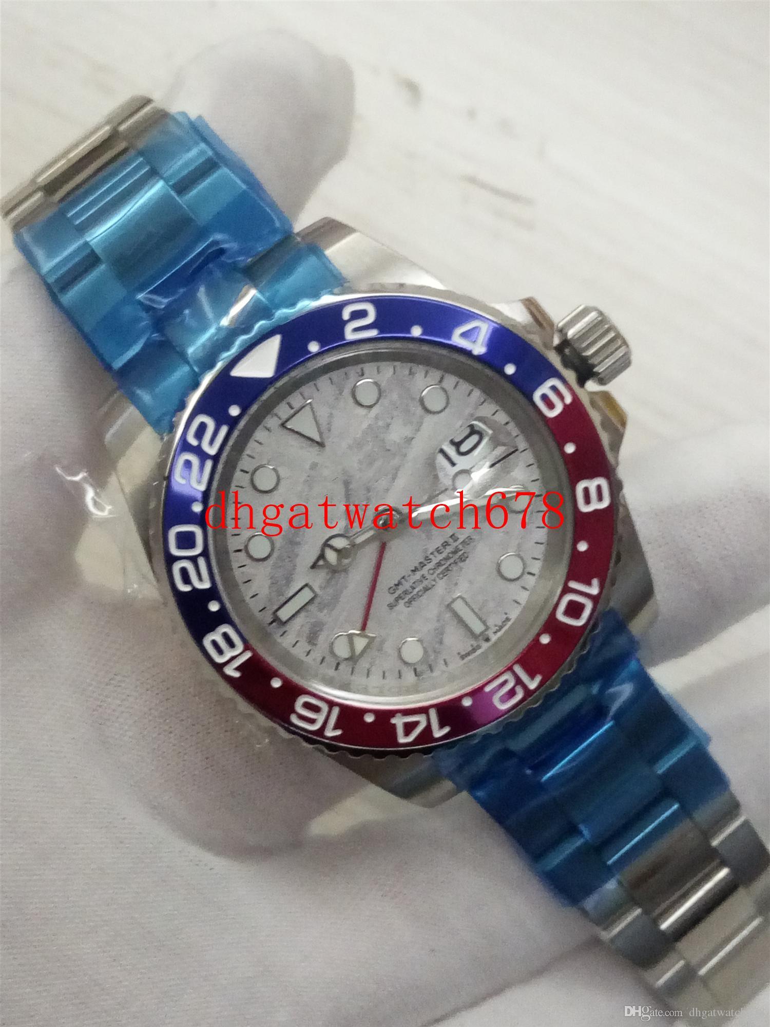 Top-Qualität Männer Uhren Basel World 126710 126710BL Rot und Blau Bicolor Keramik Lünette GMT Männer automatische Uhr