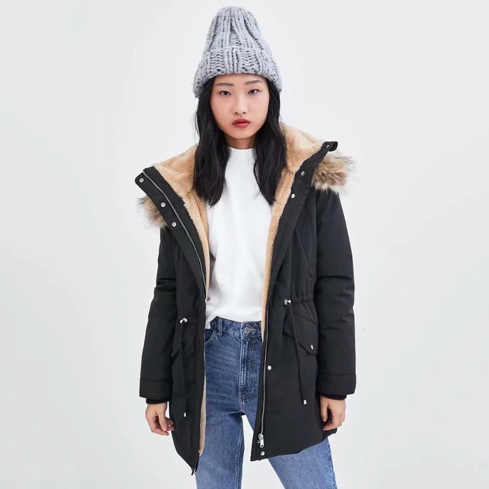 2019 ZA Nouveaux Femmes long manteau de veste d'hiver chaud velours épais col à capuche en fourrure de coton doudounes Loisirs Drawstring Outwear DT191029