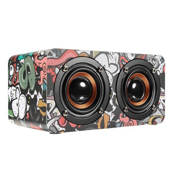 M5 Ahşap Hoparlör Çift Sürücü Ünitesi TF Kart AUX FM Radyo Stereo Bas Bluetooth Hoparlör Mic ile