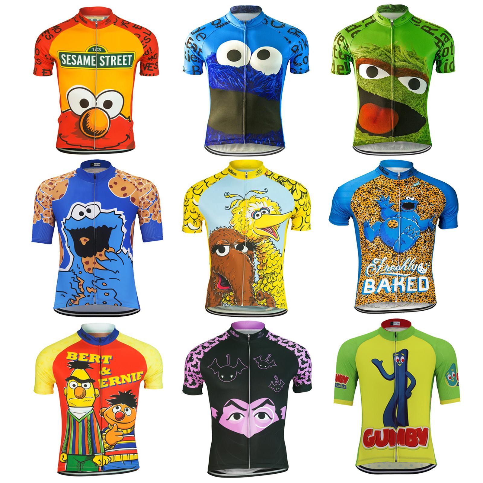 여름 만화 재미 자전거 유니폼 남성 쿠키 자전거 의류 도로 자전거 의류 MTB 자전거 의류 경주 사이클 저지 짧은 소매를 먹어