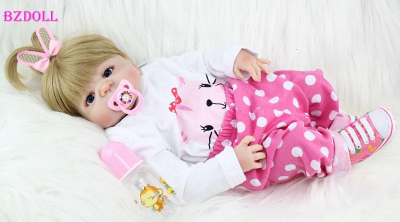 BZDOLL 55cm Tam Silikon Vücut Reborn Kız Baby Doll Oyuncak Yenidoğan Prenses Bebekler Doll Güzel Doğum Hediye Çocuk Şimdiki Y191207
