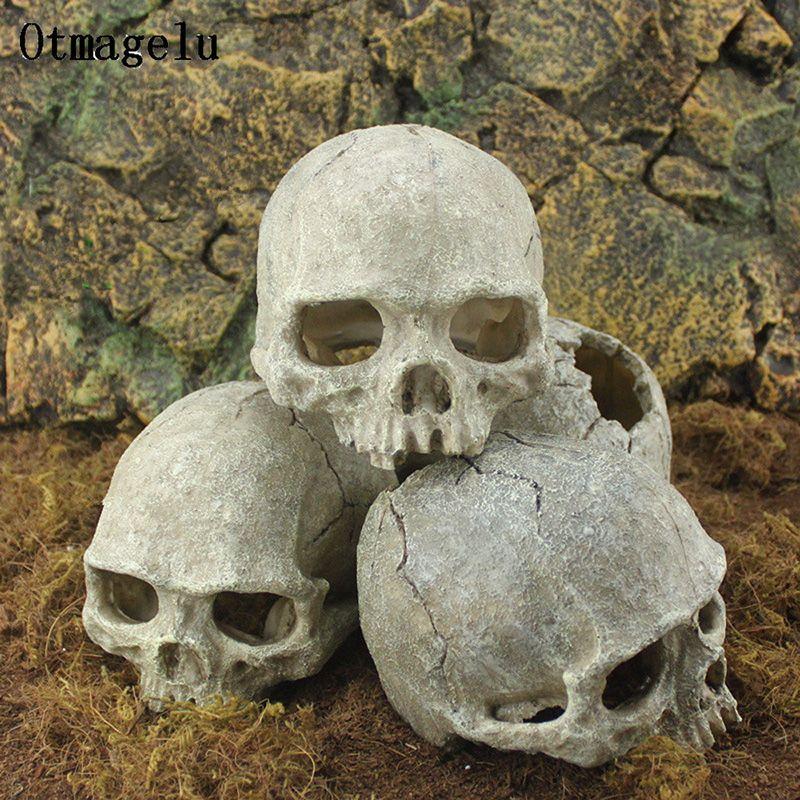 Resina Isola di Pasqua capo osso del cranio Statue a Lizards terrario Reptile Nascondi Cave Acquario Fish Tank di paesaggio della decorazione ornamento