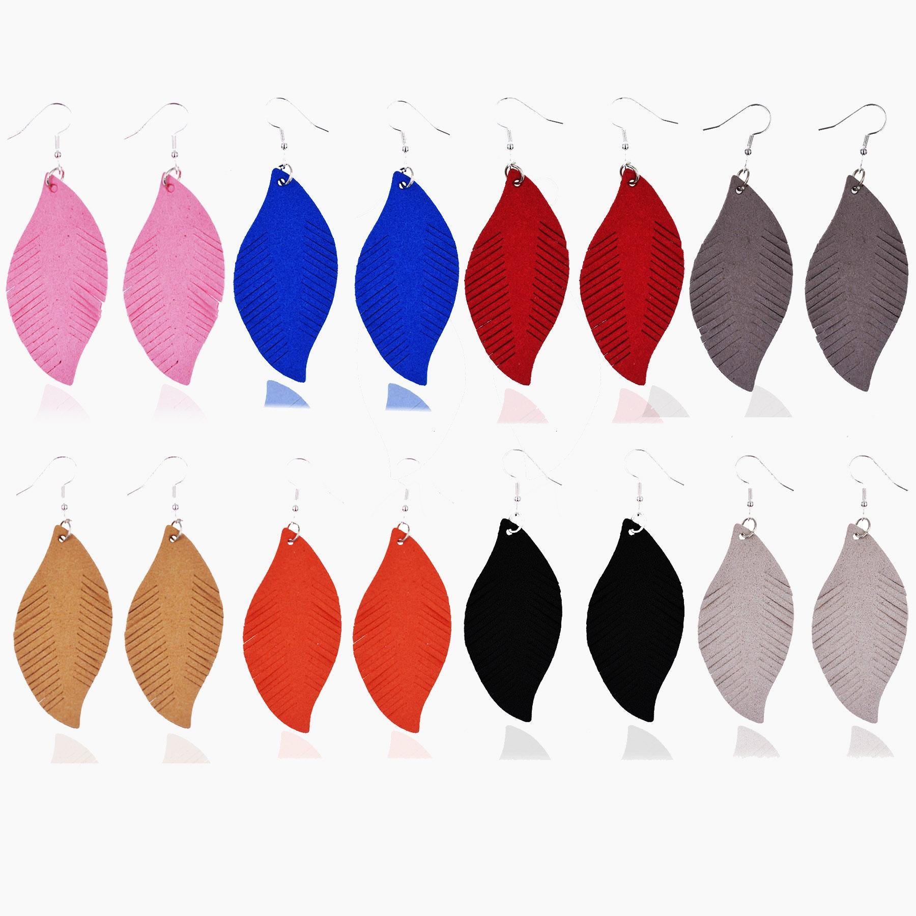Neue Ankunfts-Leder-Blatt Ohrringe Modische Leichtgewicht-Feder-Blatt baumeln Ohrringe für Frauen-Mädchen-Böhmen Statement Ohrring
