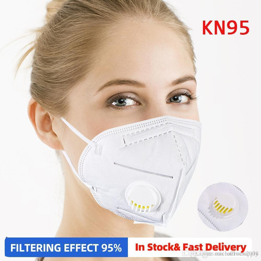 DHL Free Shipping Face Mask With Valve Folding Mask Filter Respirato Dustproof Anti PM2.5 Single Pack For Retail