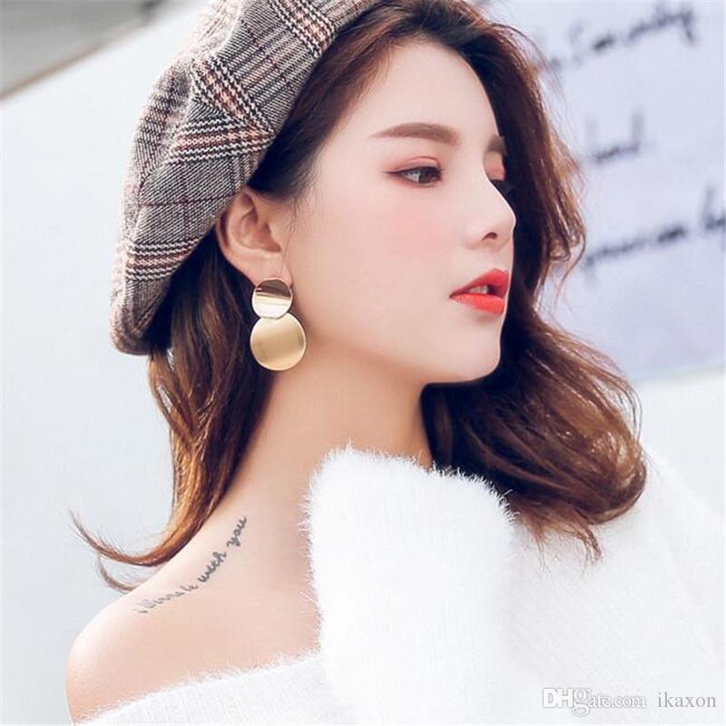Bohemian Women Vintage Circle Earrings Simple Fashion Geometric Dangle Long Tassel Ear Stud Earring Jewelry Gifts Wedding