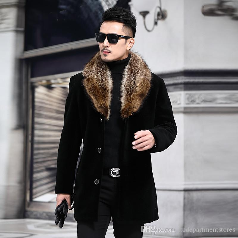 Yapay Kürk Yaka Coat Erkekler Kış Trench ile Palto Erkek Yün Blend Sonbahar Kış Coat Erkekler