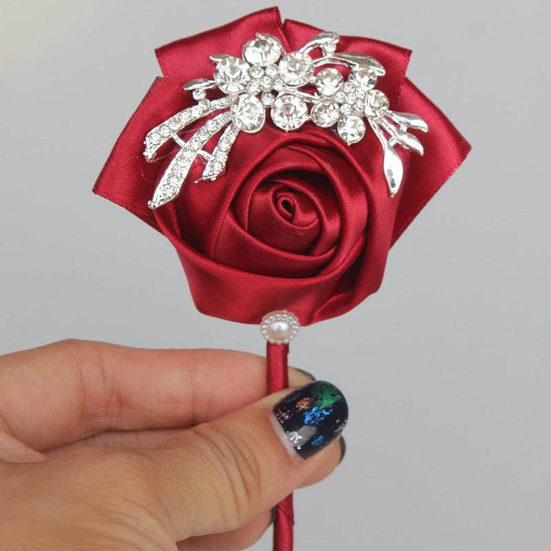1Pc New Satin Wedding Groom Bride Boutonniere Corsage Flower Ribbons Corsages Wedding Decorations 6C1197
