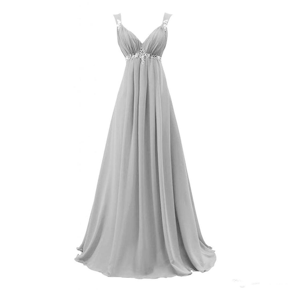 2020 Gorgeous Gray V Neck Long Chiffon Pageant Evening Dresses Women's Fashion Bridal Gown Special Occasion Prom Bridesmaid Party Dress