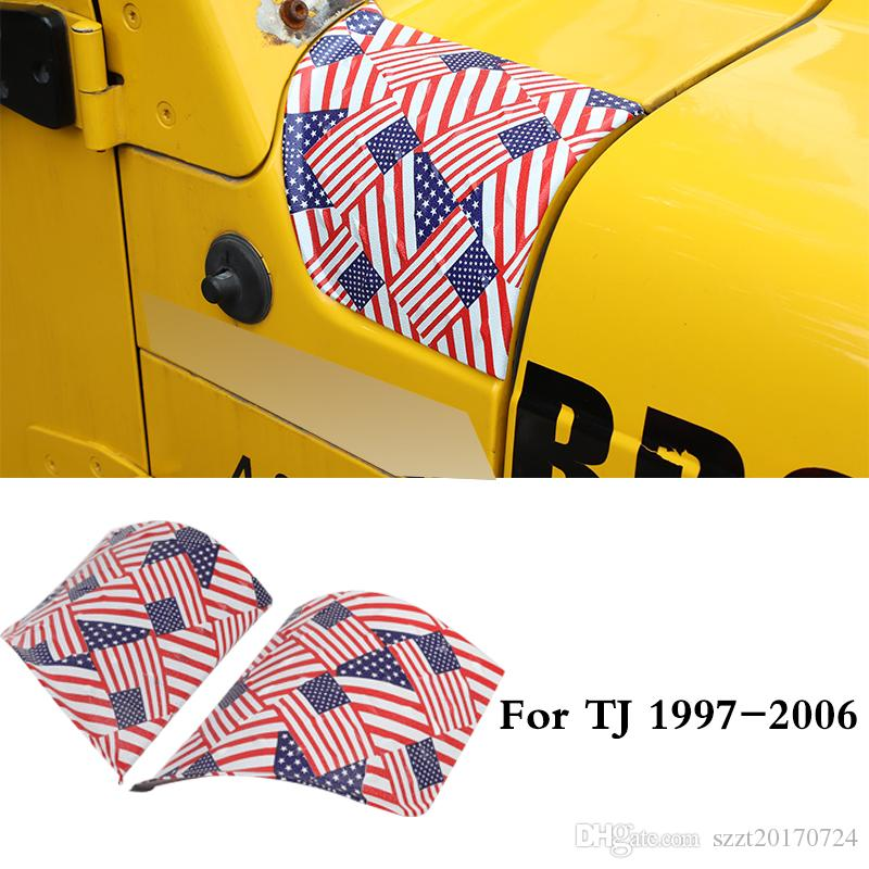 ABS capa ângulo de envolvimento Covers Decoração Para Jeep Wrangler TJ 1997-2006 Segunda Geração Auto Acessórios Exterior (bandeira americana colorido)