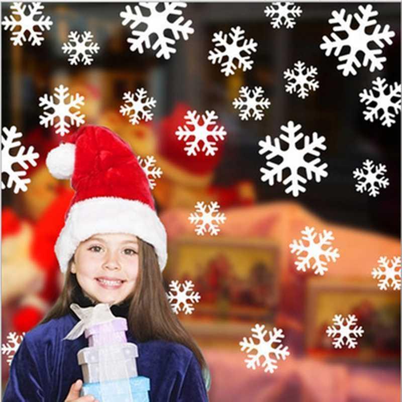 Красный Белый Снежинка Наклейка Детская Комната Рождество Стикер Стены Рождественское Окно Для Новогодней Вечеринки Домашнего Декора