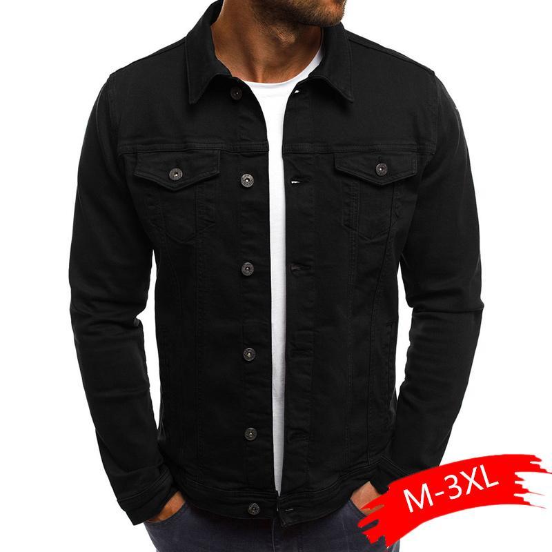 2020 Katı Renk Jeans Ceketler Kot Ceket Erkekler Moda Sonbahar İnce ceketler Mens Casual Denim Palto Yaka Streetwear Turn-down