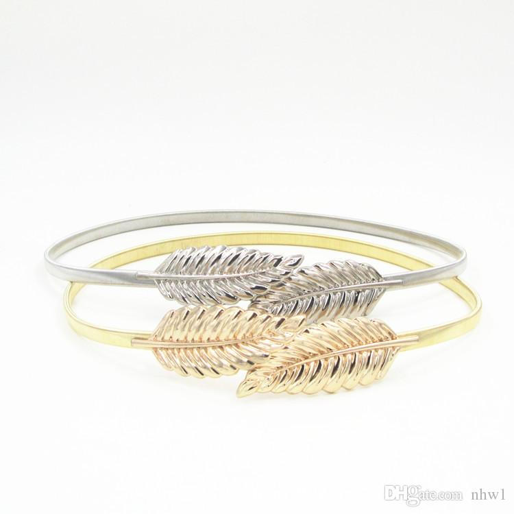 Cintura donna vintage metallo foglia Moda metallo elegante dorato / foglie argento design cintura a catena vita elasticità vita cintura regalo