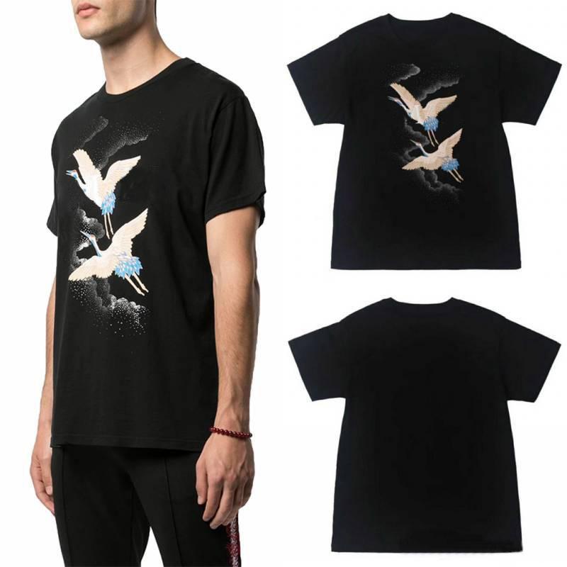 Algodón 20ss camiseta del verano polos de la manera fuego de la grúa Hombres Mujeres Negro T Casual Tamaño de manga corta S-XXL