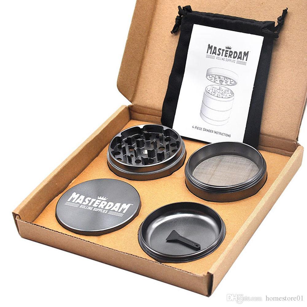 DHL-freie MASTERDAM Aluminiumlegierung Grinder 56MM 4 Schichten CNC Diamant-Zähne Spice Tabakmühlen Crusher Herbal Miller mit Gift Box
