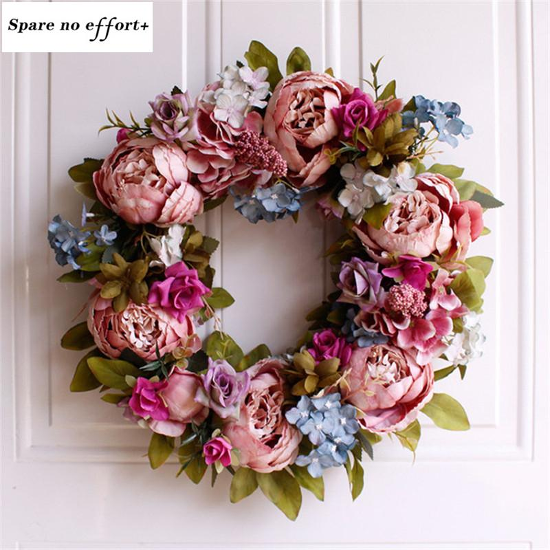 Simulation Peony Wreaths Floral Hoop Garland Wedding Decoration Household Wall Hanging Flowers