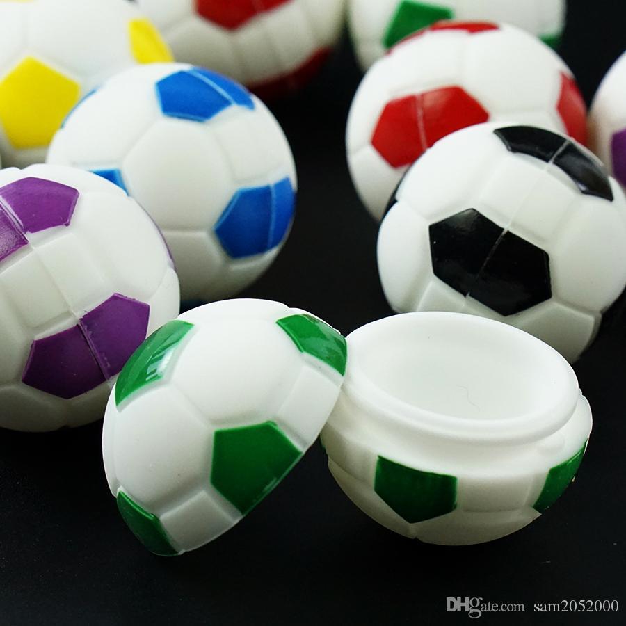 Minis Non-Stick Football Silicone Pots Contenants En Silicone De Qualité Alimentaire En Forme De Balle Boîte De Stockage À Base De Vaporisateurs En Verre Bong Accessoires