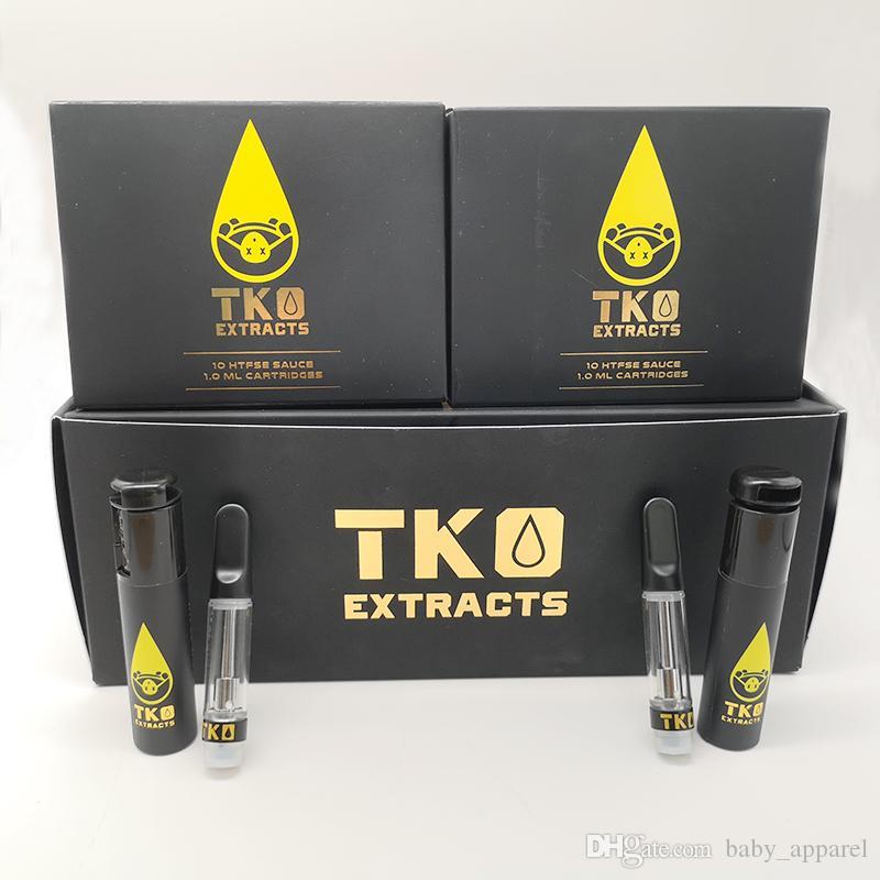 TKO Cartridges Empty Vape Cartridge Packaging TKO Sauce 0.8ml Matte Black Ceramic Tips Empty Glass Tank 510 Atomizers Thick Oil Vape Carts