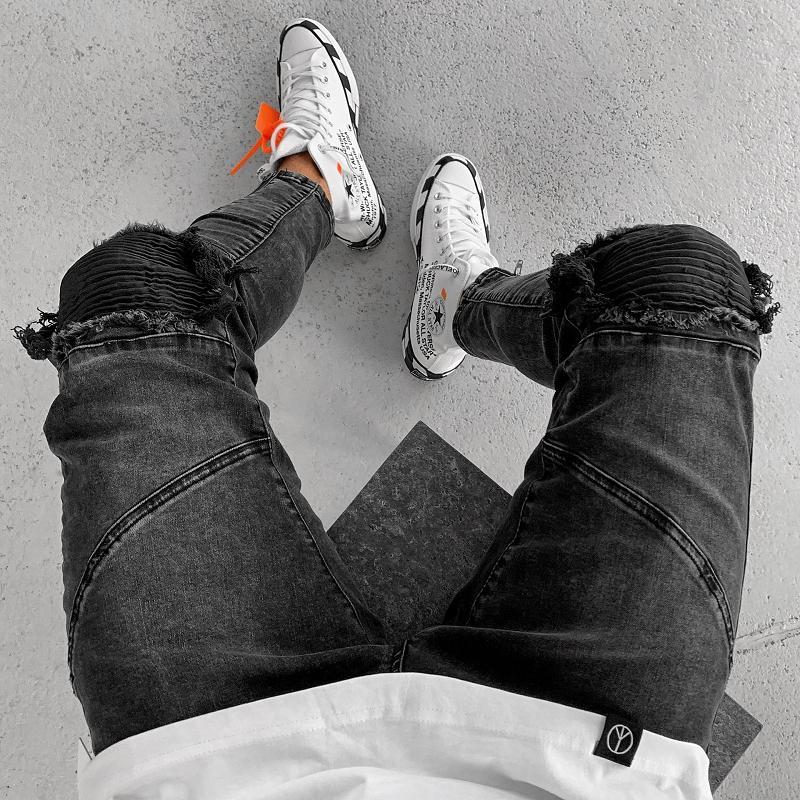 Septhydrogen Marka Moda Erkek Siyah Kot Streetwear Sıkıntılı Denim Pantolon Pamuk Vintage Hip Hop Pantolon Hiphop Jeans
