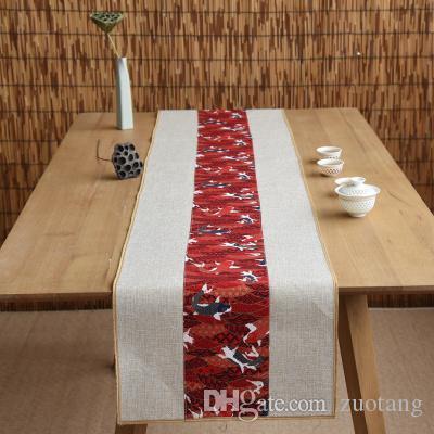 Neueste glückliche Fische im chinesischen Stil Tischläufer Weihnachten Hochzeit Tetabellentuch Rechteck Naturbaumwollleinentischmatte