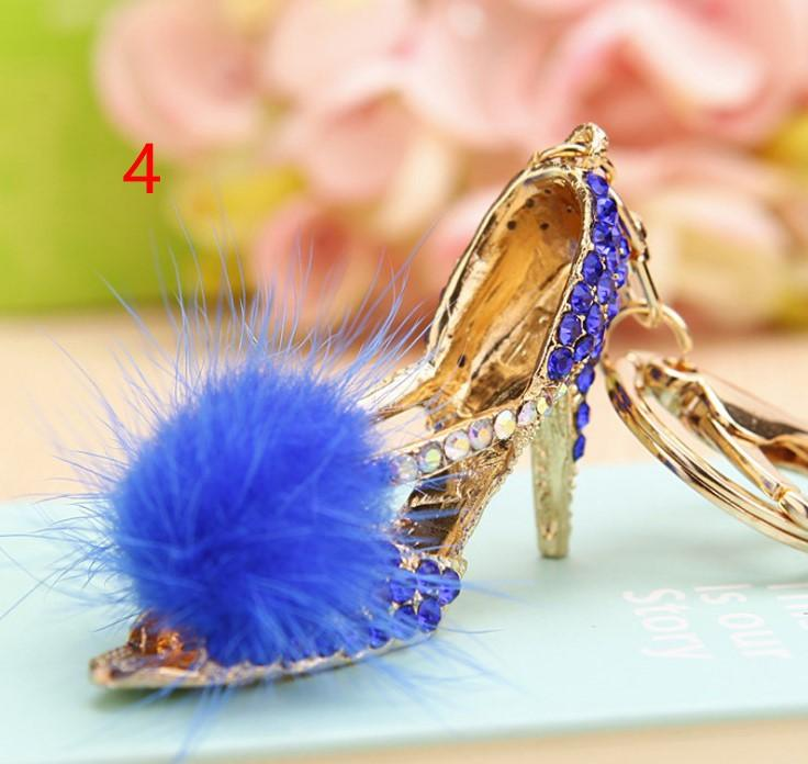 Keychain Rhinestone Openwork shoes High-heeled shoes Party gift Car Keychain Female bag Pendant Metal Circle Creative