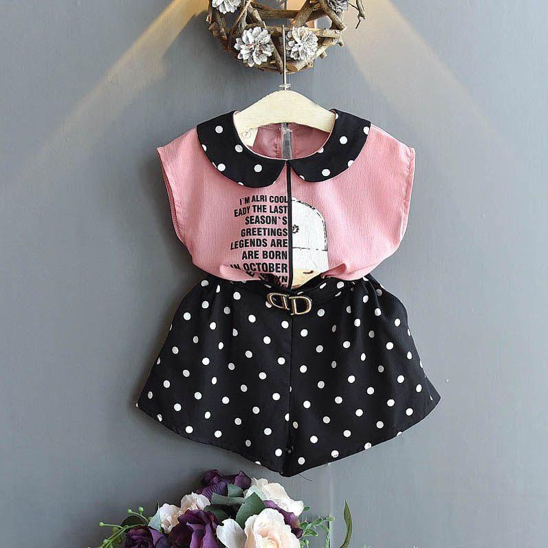 Art und Weise Chiffon Mädchenklagen 2020 neue Sommer-Punkte Mädchen Outfits Kinder Designer-Kleidung Mädchen Bluse + shorts 2pcs Kindklagen Einzelhandel B625