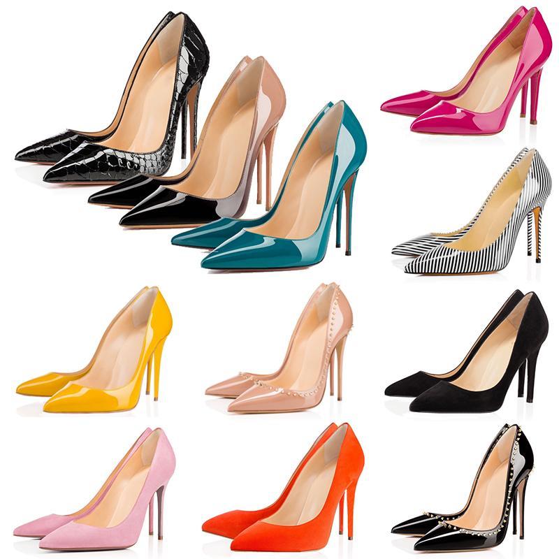 con el rectángulo rojo fondos de tacones altos picos mujeres del diseñador de zapatos de moda Así Kate Estilos de 8 cm 10 cm 12 cm cuero dedos apuntando Bombas de zapatos de vestir