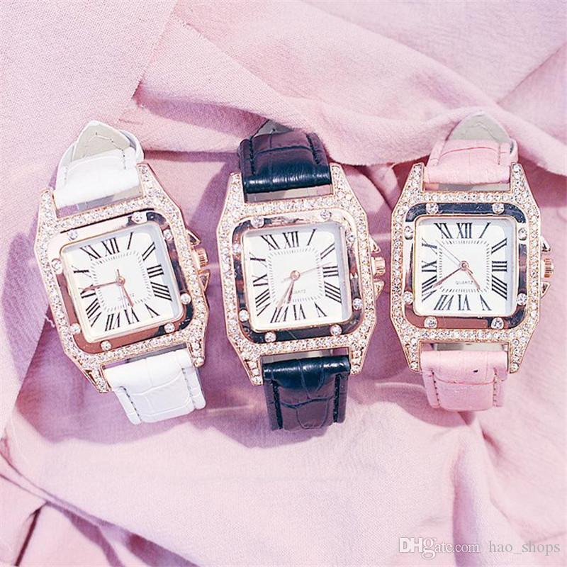 Женская мода Часы PU Кожаный ремешок Кварцевые часы для дам платье Наручные часы римские цифры Аналоговые наручные часы браслет