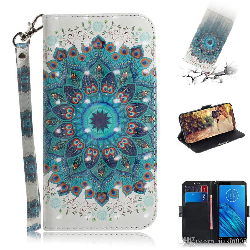 Flip Cover Stand For Motorola Moto E6/E6 Plus/E6 Play/G8 Play/G8 Plus/One Macro Case 3D Painting PU Leather Case