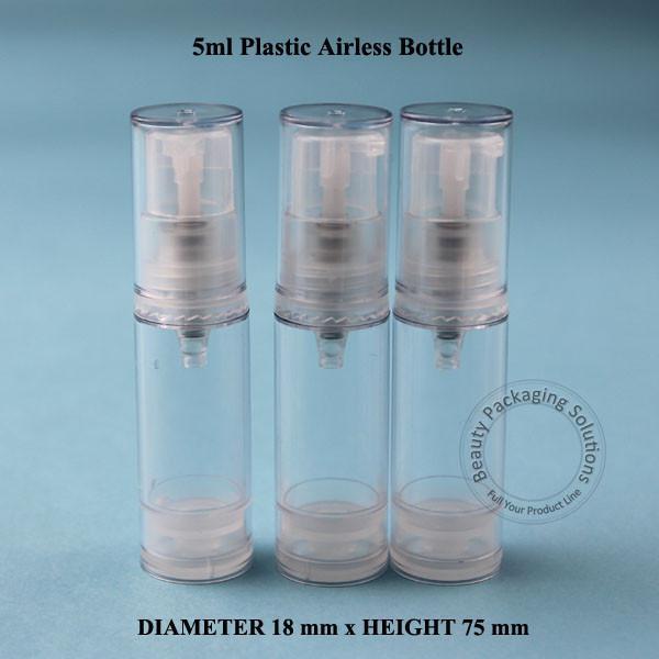 Whoelsale 100pcs/Lot 5ml Plastic Airless Lotion Emulsion Pump Spray Bottle 1/6OZ Vacuum Refillable Women Cosmetic Container Pot