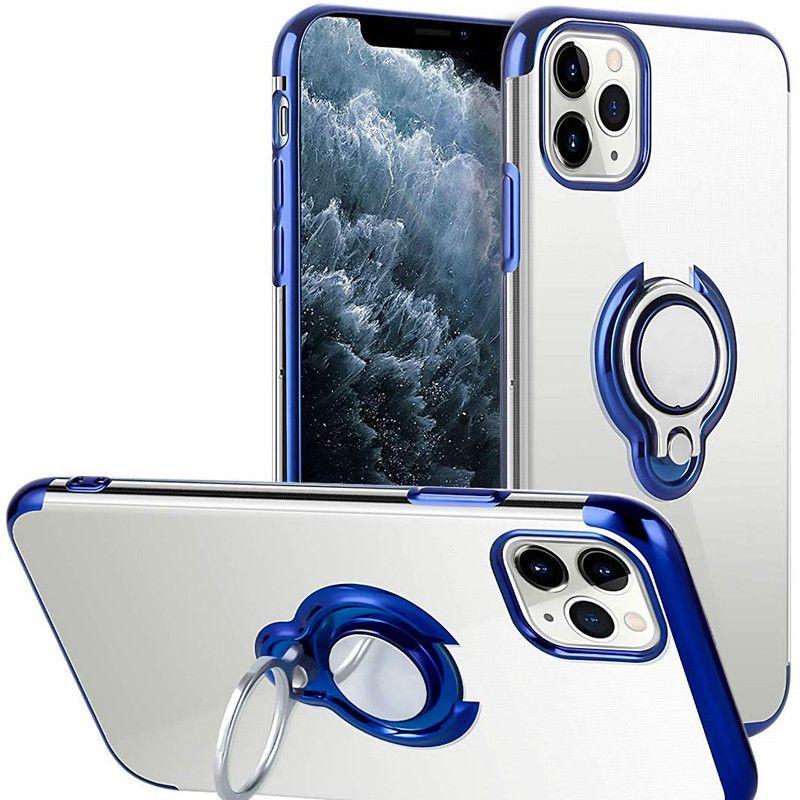 Telefono Caso placcatura per iPhone Pro 11 MAX XS XR X 8 più libero trasparente Holder dito anello magnetico ultra sottile copertina Coque
