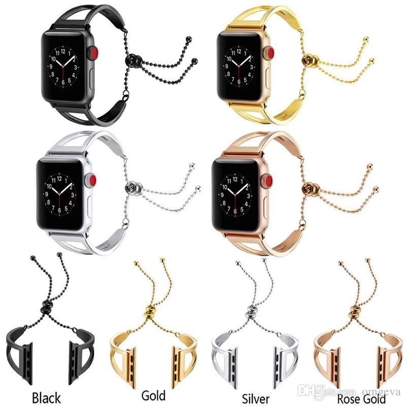 Pulsera Correa de reloj para bandas de reloj de Apple 38 mm 42 mm 40 mm 44 mm Correa de acero inoxidable para la serie Iwatch 4/3/2/1 Reemplazo de pulsera de metal