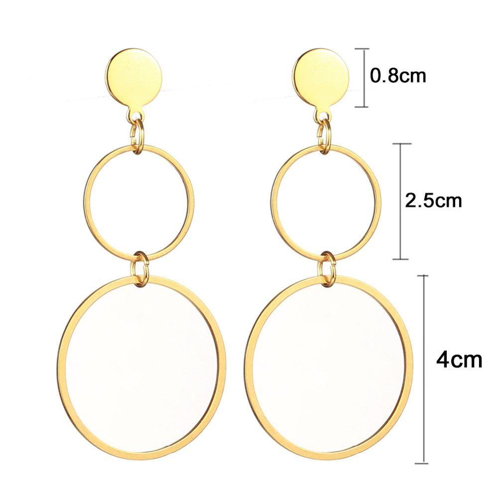 Stainless Steel Statement Earrings 2020 Big Geometric Circle Round Earrings For Women Female Hanging Dangle Earrings Drop Earing