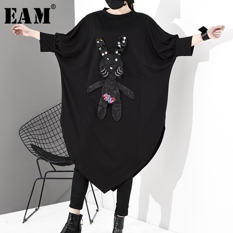 [EAM] Le donne del modello asimmetrico grande formato nuovo vestito da girocollo a tre quarti di manica Loose Fit Moda primavera-estate 2020 1S048