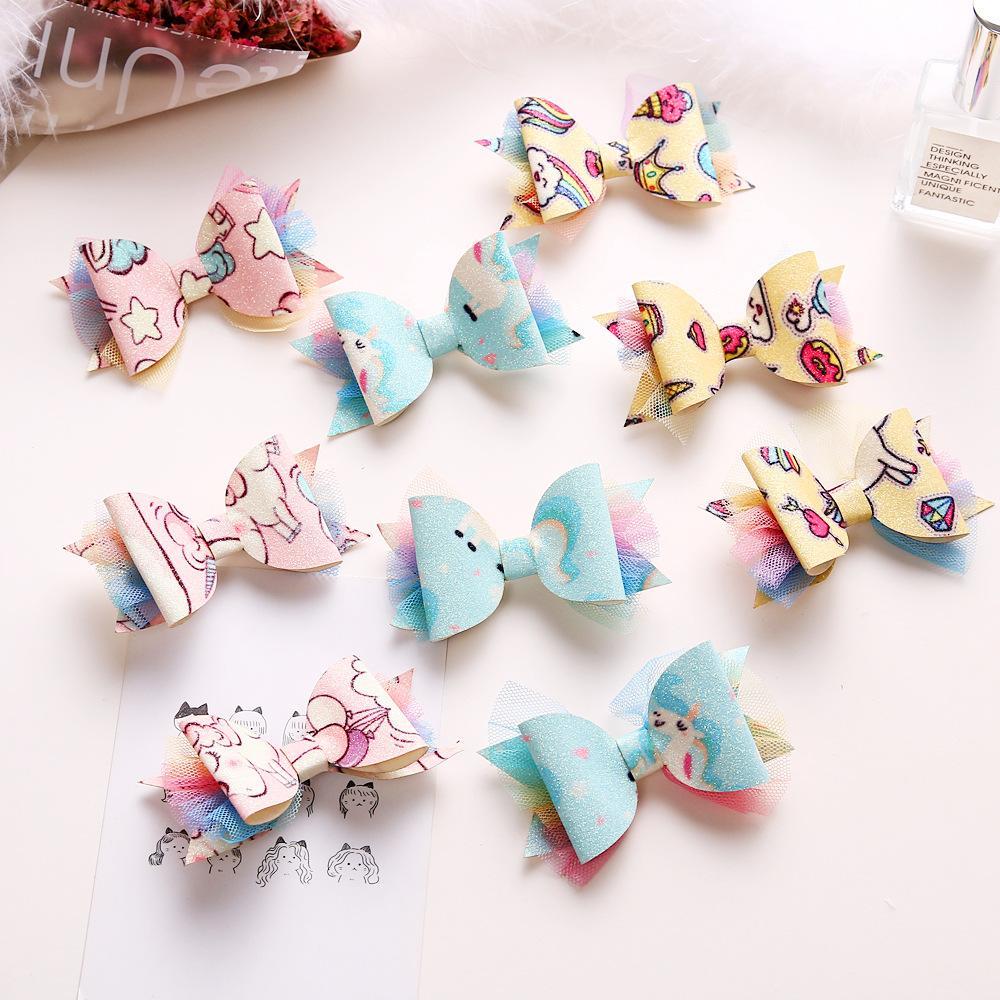 Boutique ins 15pcs Fashion Glitter Cute Unicorn Bowknot Hairpins Rainbow Mesh Bow Hair Clips Princess Headwear Hair Accessories