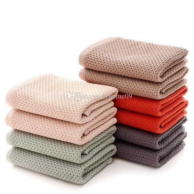 Dish cloth Cotton soft Honeycomb Cleaning Cloths Solid Color Super Absorbent Portable hair Face Towels Travel Bathroom Towel For Home Hotel