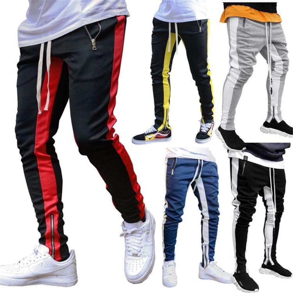 Hombres Negro cadera Pantalones deportivos manera ocasional Hop fitness Streetwear pantalones a rayas con cordón Joggers pantalón Pantalón Homme V200414