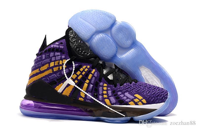 LeBrons das mulheres 2019 novo designer 17 tênis de basquete para venda Jovens crianças LeBrons XVII Preto Roxo Amarelo James 17s Esportes sapatos com caixa