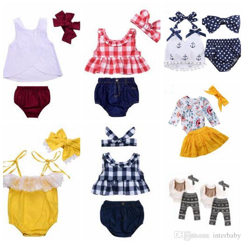 Baby Clothes Girls Grid Tassel Suits Kids Polka Dot Floral Clothing Sets Fashion Boutique T Shirt Rompers Diaper Pants Headband Outfits 4905