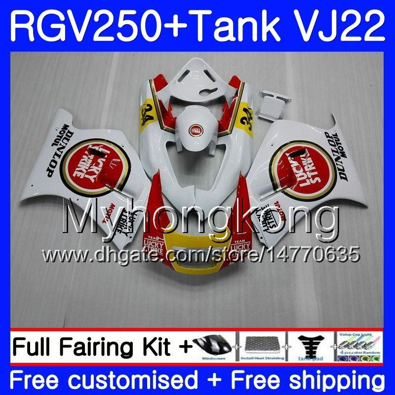 Cuerpo + tanque para SUZUKI VJ21 RGV250 88 89 90 91 92 93 307HM.3 RGV-250 Lucky Strike nuevo VJ22 RGV 250 1988 1989 1990 1991 1992 1993 Kit de carenado