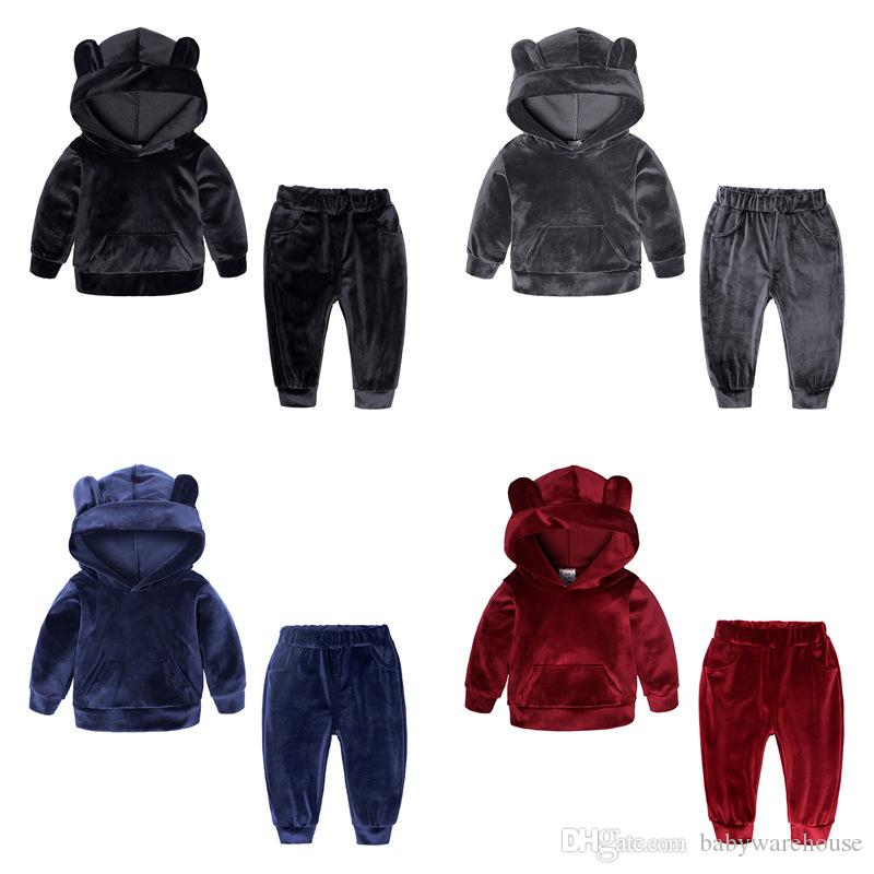 Winter Baby Boy Clothes Kids Clothing Sets Baby Girls Velvet Hoodies Tops Long Pants 2Pcs Children Hooded Outfits Infant Toddler Clothes