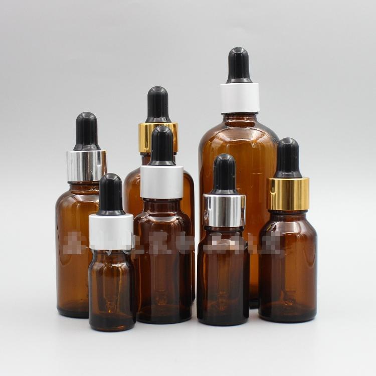 5 10 ml Ambra Vetro Contagocce Bottiglie con tappo in alluminio 15 20 30 50 100 ml Olio essenziale contagocce bottiglia per laboratorio Prodotti Chimici, colonie, Profumi