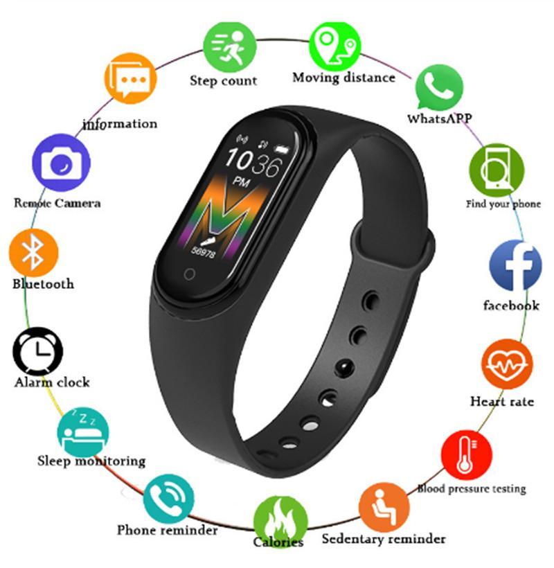 M5 Çağrı Akıllı İzle Smartband Spor Spor izci Akıllı Bileklikler Tansiyon Gerçek Nabız Bluetooth Müzik Su geçirmez